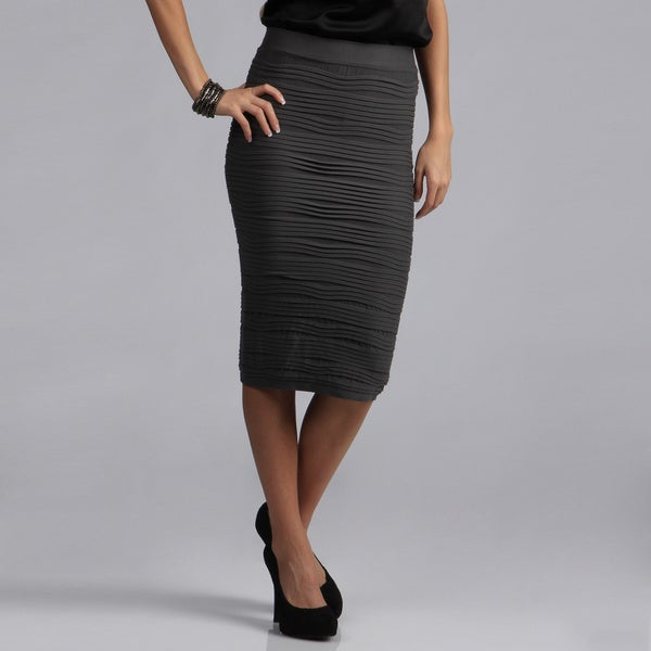 Tabeez Women's Textured Stretch High-waist Pencil Skirt. Opens flyout.