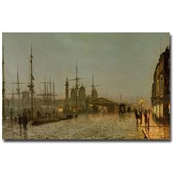 John Grimshaw 'Hull Docks by Night' Canvas Wall Art