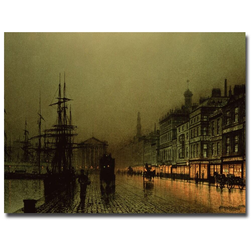 John Grimshaw 'Greenock Dock by Moonlight' Canvas Wall Art
