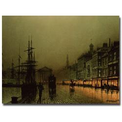 John Grimshaw 'Greenock Dock by Moonlight' Canvas Wall Art - Thumbnail 0