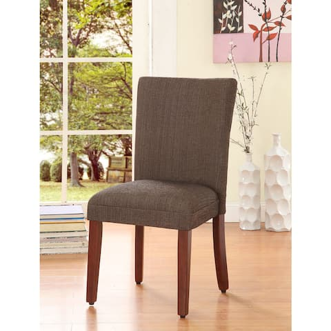 HomePop Elegant Parson Dining Chair -Blue and Brown Damask - N/A