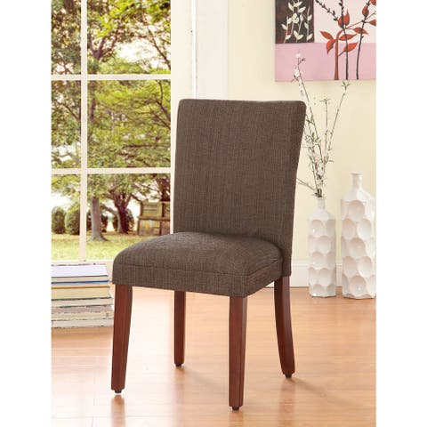 HomePop Elegant Parson Dining Chair -Blue and Brown Damask