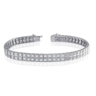 14k White Gold 4ct TDW Double Row Diamond Tennis Bracelet by Auriya