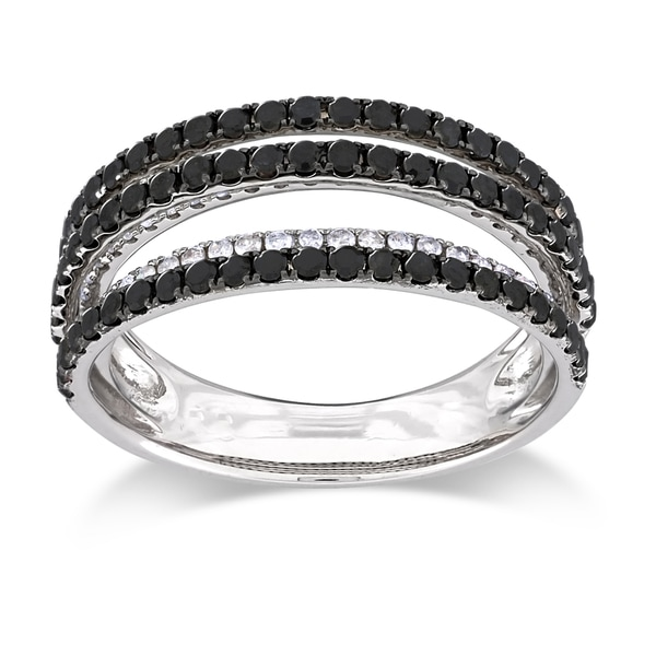 Miadora Sterling Silver 1ct TDW Black and White Multi Row Diamond Ring