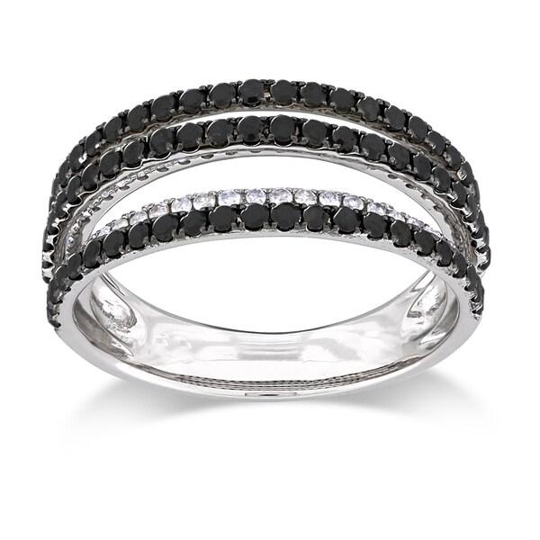 Miadora Sterling Silver 1ct TDW Black and White Multi Row Diamond Ring (G-H, I3)