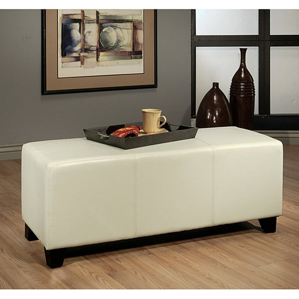 Abbyson Living Montgomery Off White Bicast Leather Bench Ottoman