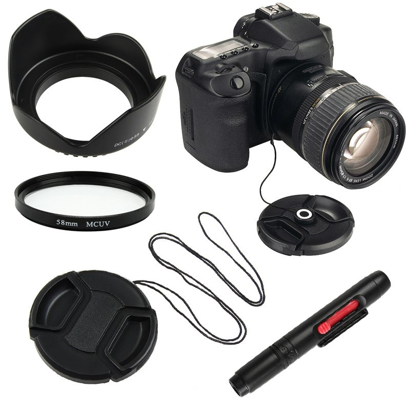 UV Filter/ Lens Hood/ Cap/ Cap Keeper/ Lens Cleaning Pen for Canon T3i - Thumbnail 0