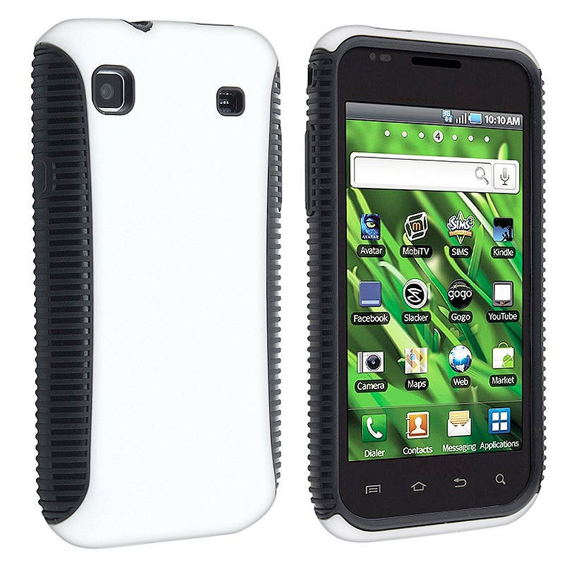 INSTEN Black/ White Hybrid Phone Case Cover Protector for Samsung Vibrant T959 Galaxy