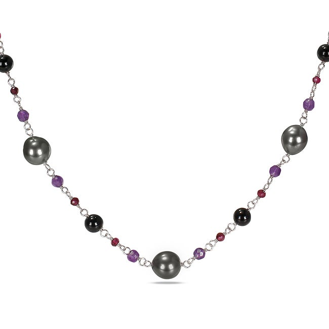 Miadora Sterling Silver Black Tahitian Pearl and Multi-gemstone Necklace