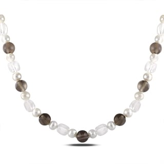 Miadora Sterling Silver 95ct TGW Multi-gemstone and FW Pearl Necklace