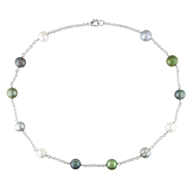 Miadora Silvertone Multi-colored Pearl Necklace (8-9 mm)