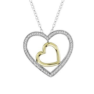 De Couer IGI Certified Sterling Silver 1/5ct TDW Diamond Heart Necklace