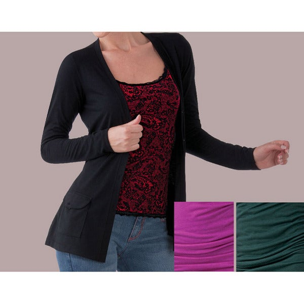 Ilusion Women's Front Pocket Sash Cardigan