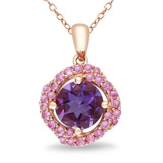 Miadora Pink Silver 1 3/4ct TGW Amethyst and Created Pink Sapphire Fashion Necklace