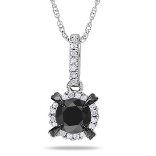 Miadora 10k White Gold 1ct TDW Black and White Diamond Necklace (G-H, I2-I3)