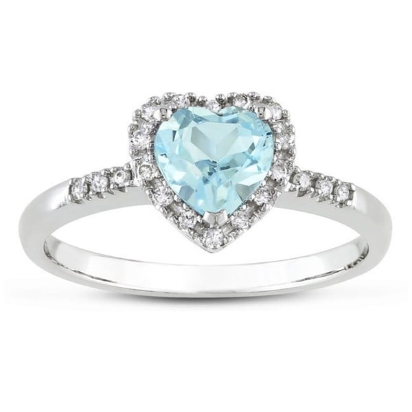 Miadora 10k White Gold Blue Topaz and 1/10ct TDW Diamond Ring (G-H, I2-I3)