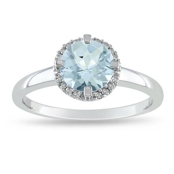 Miadora 10k White Gold Aquamarine and Diamond Accent Ring (G-H, I2-I3)