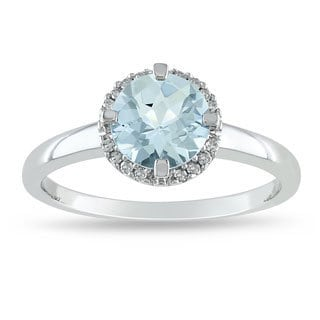Miadora 10k White Gold Aquamarine and Diamond Accent Ring (G-H, I2-I3)