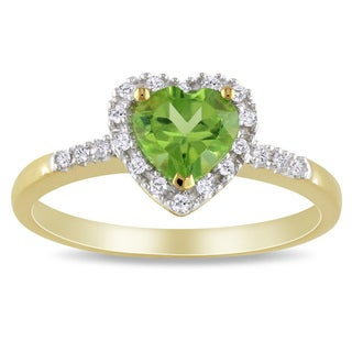 Link to Miadora 10k Yellow Gold Peridot and 1/10ct TDW Diamond Heart Ring (G-H, I2-I3) Similar Items in Rings