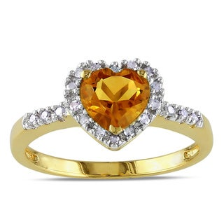 Miadora 10k Yellow Gold Citrine and 1/10ct TDW Diamond Ring (G-H, I2-I3)