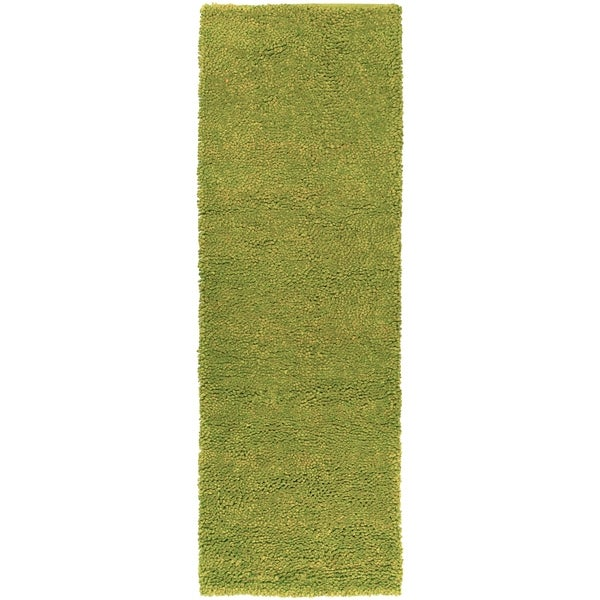 """Hand-woven Pavia Colorful Plush Shag New Zealand Felted Wool Area Rug (2'6 x 8') - Fern - 2'6"""" x 8' Runner/Surplus"""