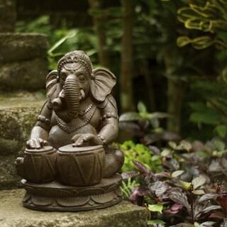 Handmade Stone Tabla Elephant Ganesha Statue (Indonesia) (Option: Chocolat Antique)