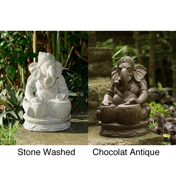 Handmade Stone Tabla Elephant Ganesha Statue (Indonesia)