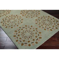 """Hand-tufted Contemporary Moss Green Circles Grenoble New Zealand Wool Abstract Area Rug - 2'6"""" x 8'"""