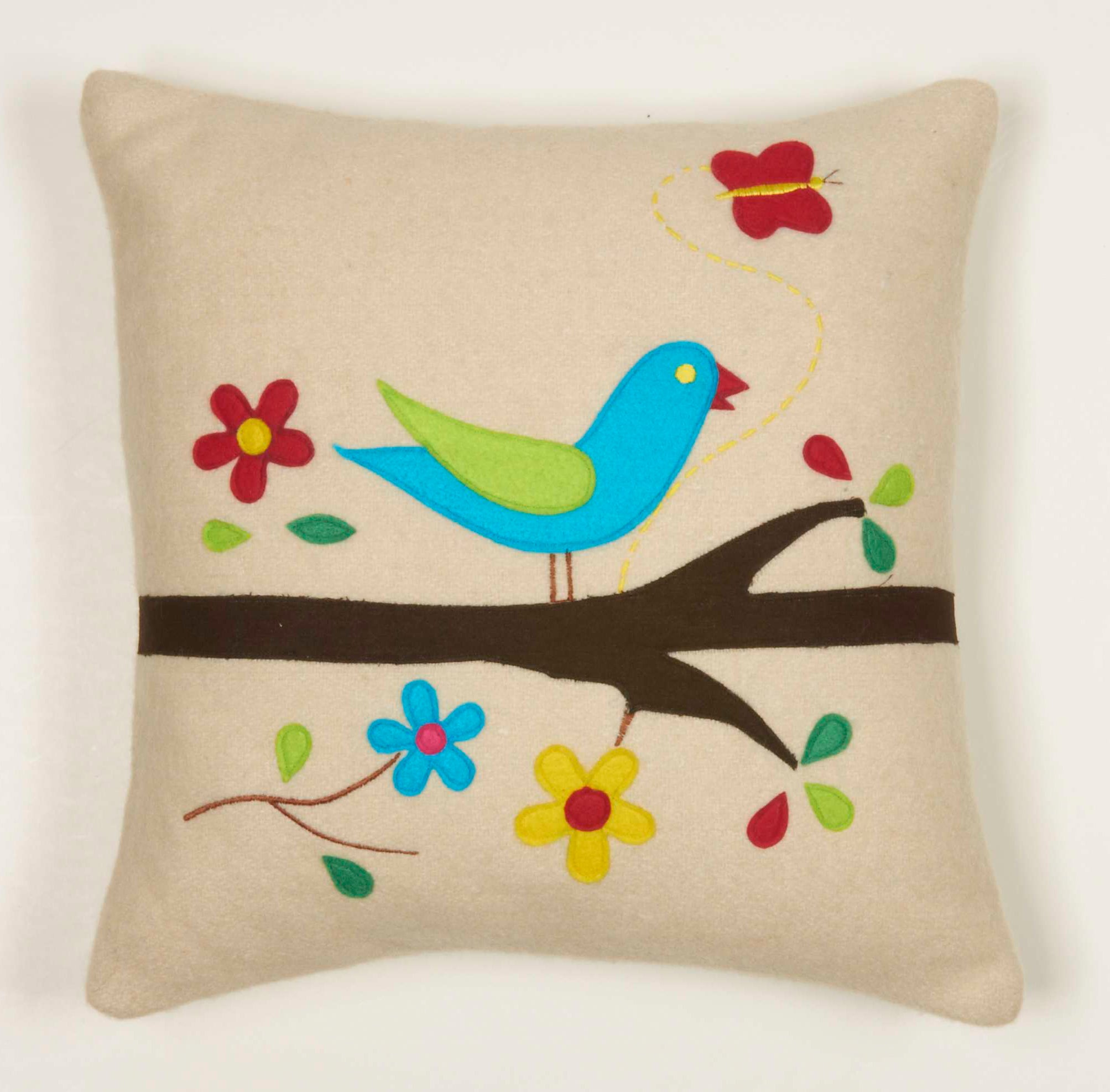 Pretty Bird Decorative Wool Pillow