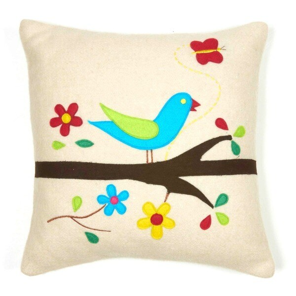 Cottage Home Pretty Bird Wool 12 Inch Throw Pillow