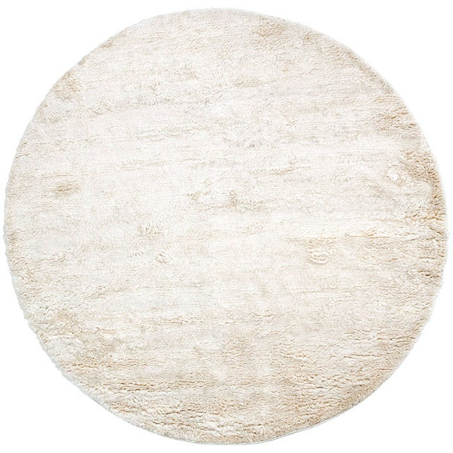 Hand-woven Afragola Plush Shag Zealand Wool Rug (8' Round)