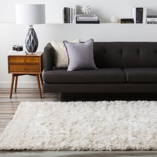 Shop Hand-woven Afragola Plush Shag Zealand Wool Area Rug