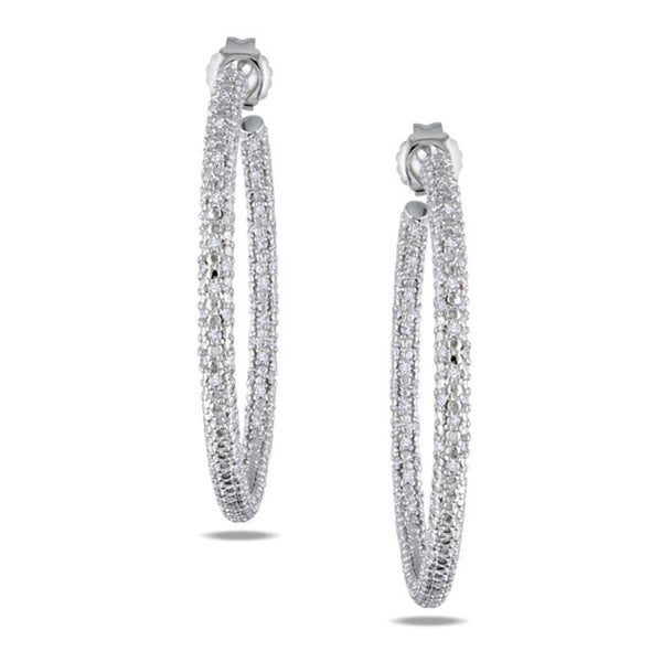Miadora Sterling Silver 1/2ct TDW Diamond Hoop Earrings
