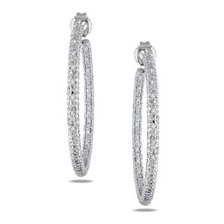 Miadora Sterling Silver 1/2ct TDW Diamond Hoop Earrings (G-H, I2-I3)