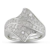 Miadora Sterling Silver 1ct TDW Diamond Ring