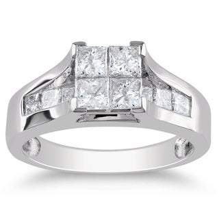 Miadora Signature Collection 14k Gold 1 1/3ct TDW Princess Diamond Engagement Ring (G-H, I1-I2)