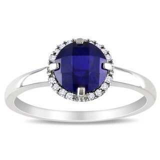 Miadora 10k White Gold Created Sapphire and Diamond Accent Ring (G-H, I2-I3)