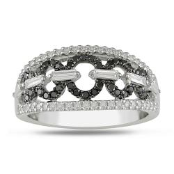 Miadora 14k White Gold 3/4ct TDW Black and White Diamond Ring (G-H, I2-I3)