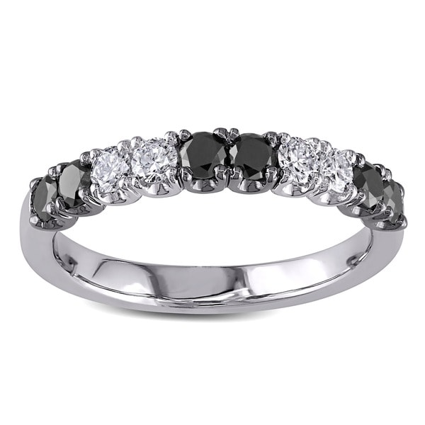 Miadora 18k White Gold 3/4ct TDW Black and White Diamond Anniversary Ring