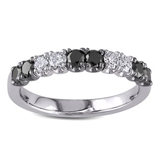 Miadora 18k White Gold 3/4ct TDW Black and White Diamond Anniversary Ring (H-I, SI1-SI2)