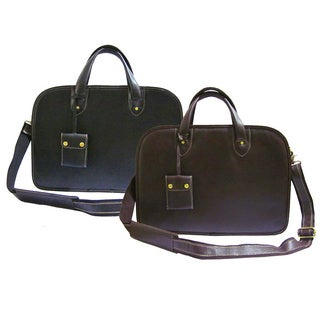 Amerileather Dual-handle Cowhide-leather Laptop Commuter Portfolio