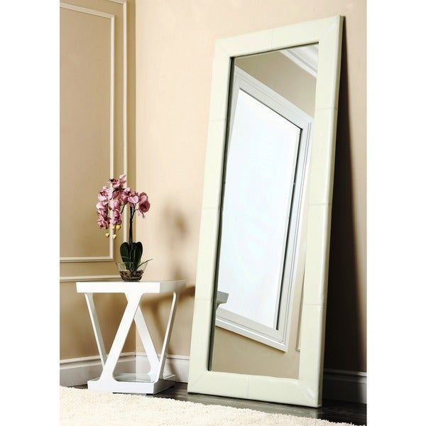 Abbyson Delano Ivory Leather Floor Mirror