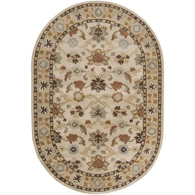 Hand-tufted Traditional Karakoram Vanilla Floral Border Wool Rug (6' x 9' Oval)