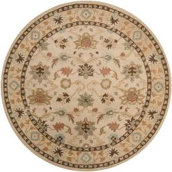 Hand-tufted Traditional Karakoram Vanilla Floral Border Wool Rug (8' Round)