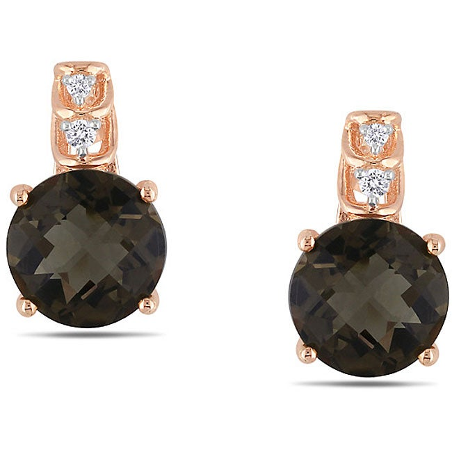 Miadora Pink Silver 3 ct TGW Smokey Quartz 0.03 ct TDW Earrings (G-H)