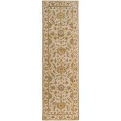 Hand-tufted Pennine Ivory Floral Border Wool Rug (2'6 x 8')