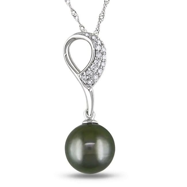 14k White Gold 1/10 ct TDW Tahitian Black Pearl Pendant (G-H, I1-I2)