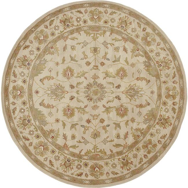 Hand-tufted Pennine Ivory Floral Border Wool Rug (8' Round)