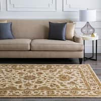 Hand-tufted Pennine Ivory Floral Border Wool Area Rug - 8'