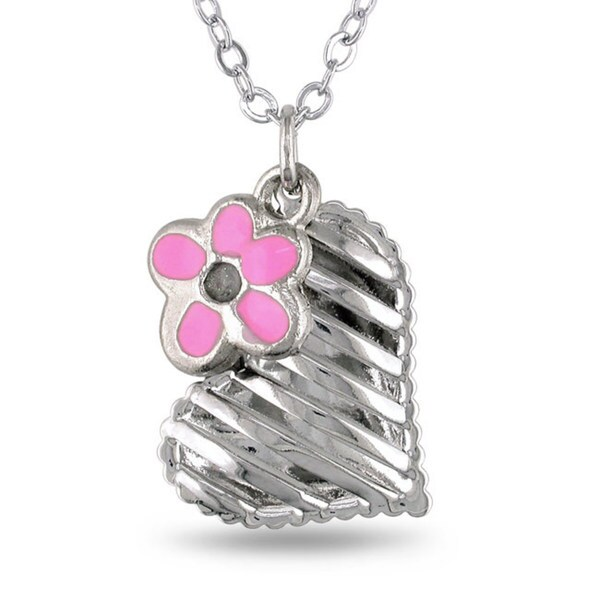 M by Miadora Silvertone Hanging Flower Charm Heart Necklace